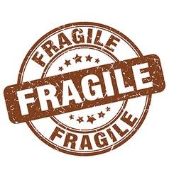 Fragile brown grunge round vintage rubber stamp vector