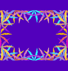 frame palm leaves purple and orange gradient vector image