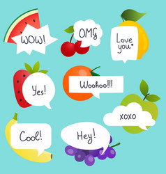 Fruits with speech bubble set in flat design vector