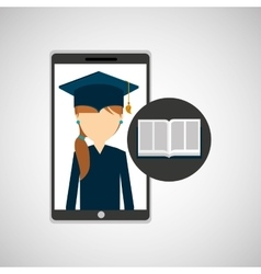 Girl app education online e-learning vector