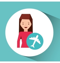 Girl cartoon traveler and airport plane design vector