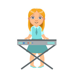 Girl playing on keyboard kid performing on stage vector
