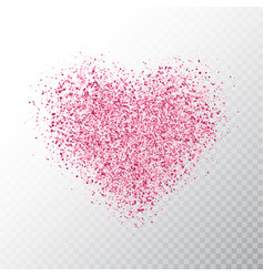 glitter pink heart isolated on transparent vector image