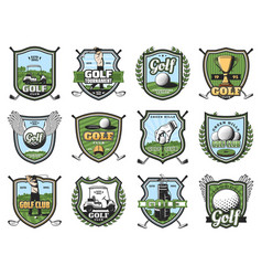 golf sport balls clubs and golfers trophy tee vector image