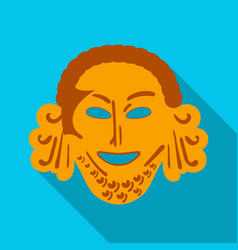 Greek antique mask icon in flat style isolated on vector