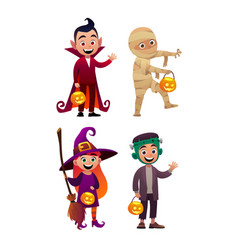 Group of kids in halloween costumes vampire mummy vector