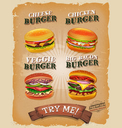 Grunge and vintage burger menu vector