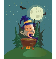 Halloween with witch and crafting pot vector image
