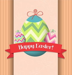 happy easter eggs greeting poster vector image