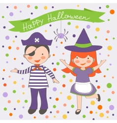 Happy Halloween kids couple vector image
