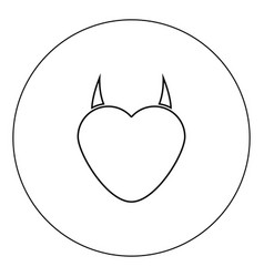 heart with devil horn icon black color in circle vector image