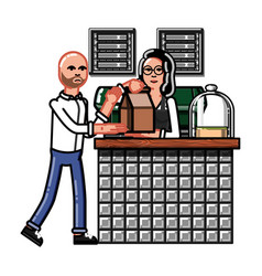hipster baristas hand drawn style vector image