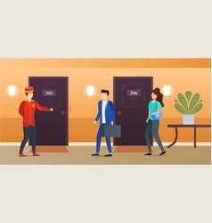 Hotel doorman showing room for new visitors vector