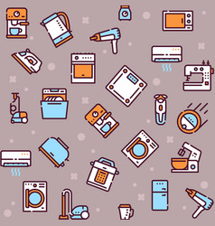 household appliance linear icons set vector image