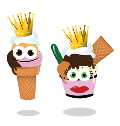 ice cream queen and king vector image