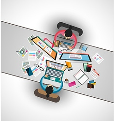 Ideal Workspace for teamwork and brainstorming vector image