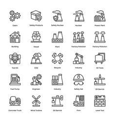 Industrial and construction line icon set 7 vector