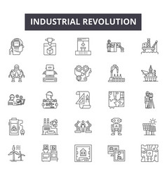 Industrial revolution line icons for web and vector