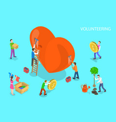 isometric flat concept volunteering and vector image