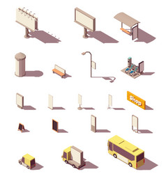 isometric outdoor advertising media set vector image