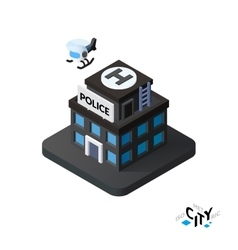 Isometric police station icon building city vector