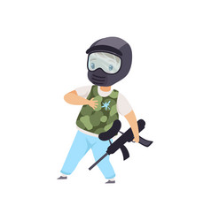 little boy wearing mask and vest playing paintball vector image