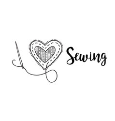 logo with lettering i love sewing vector image