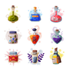 magic bottles potion set occult magic objects vector image
