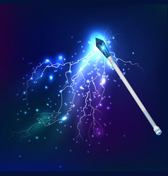 Magic wand with electric discharge effect vector
