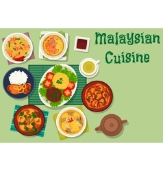 Malaysian cuisine icon with meat seafood dishes vector
