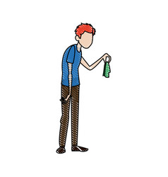 Man with flu holding handkerchief vector