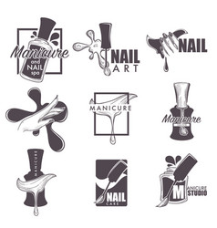Manicure and nail spa sketch icons vector