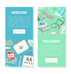 medicine and treatment landing page template vector image