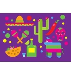 Mexico icons Cactus Sombrero Maracas Tequila vector