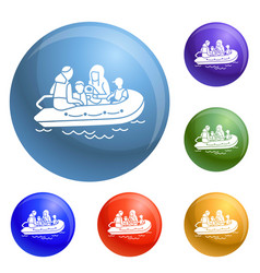 migrant family boat icons set vector image
