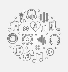 music round in outline style vector image
