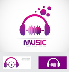 Music volume headset logo vector image