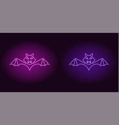 neon bat in purple and violet color vector image