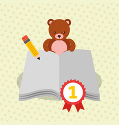 open book pencil medal bear teddy vector image