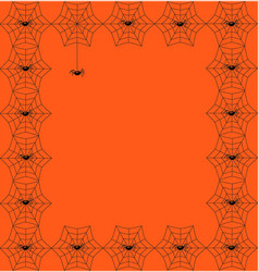 orange template framed with spiderweb and spiders vector image