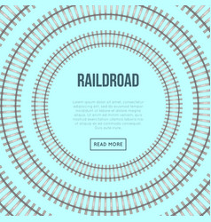 Railroad banner with circle rails vector