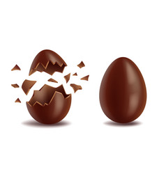 realistic chocolate eggs set broker exploded and vector image