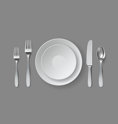 Realistic table serving round dining plate vector