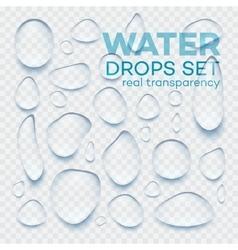 Realistic transparent water drops set vector