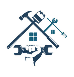 Repair and construction of the house with a tool vector