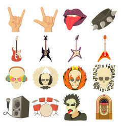 Rock music icons set cartoon style vector