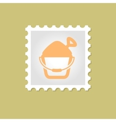 Sand Bucket and Shovel stamp vector
