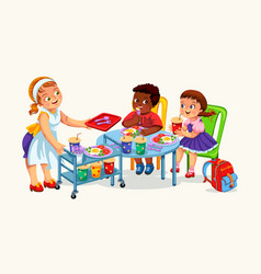 School dinner poster vector