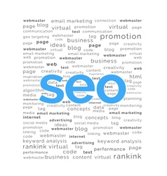 SEO word with keywords background vector image