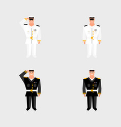 set american military officer salutes vector image